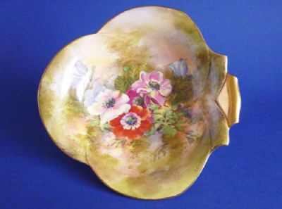 Royal Winton Hand Painted 'Anemone' Trefoil Dish signed Z. Kas c1945 (Sold)